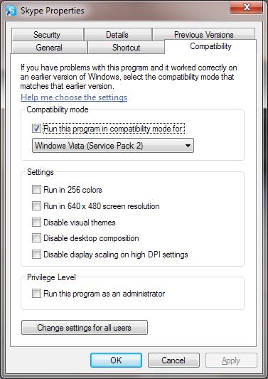 Skype 4.2 - kompatibilitás üzemmód beállítása